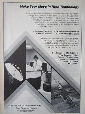 5/1982 PUB GENERAL DYNAMICS DATA SYSTEMS F-16 SPACE OPPORTUNITY RECRUTEMENT  AD | eBay