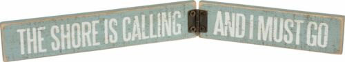 """NEW!~Mini Wood Hinged Sitter~/""""THE SHORE IS CALLING AND I MUST GO/""""~Beach House"""