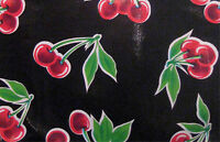 Stella Retro Black Vintage Style Cherry Oilcloth Material Fabric Craft Kitchen
