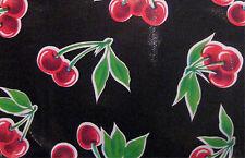 STELLA ReTrO BLACK Vintage Style CHERRY Oilcloth Material Fabric Craft Kitchen