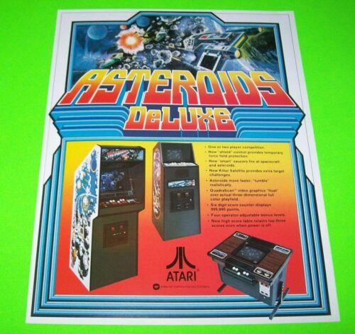 Asteroids Deluxe Arcade FLYER Atari Original 1981 NOS Video Game Space Age Art