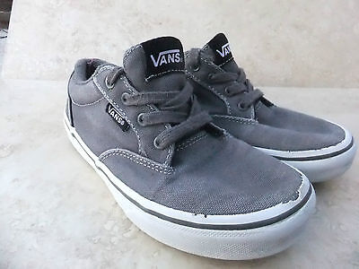 Kids Vans Atwood Gris Lona Zapatillas Zapatos Casuales Uk 13 Eur 31
