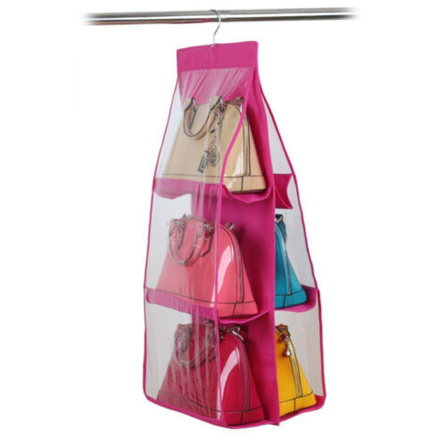 6 Pockets Hanging Closet Organizer Anti-dust Cover Handbag Holder Storage Bag