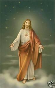 VINTAGE-Catholic-Large-holy-card-SACRED-HEART-of-JESUS-Postcard-size-paper