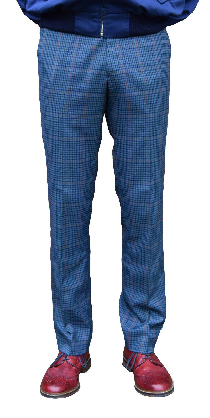 blueE TWEED STA PRESS TROUSERS-MOD RETRO SKINHEAD NORTHERN SOUL SKA RELCO SCOOTER