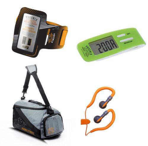 Running Hook Earphones,LCD Digital Step Pedometer,mp3//Phone Armband,Gym Bag