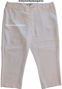New-Womens-Marks-amp-Spencer-White-Linen-Tapered-Crop-Trousers-Size-18-14-Medium