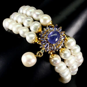 Unheated-Oval-Blue-Tanzanite-10x8mm-Pearl-925-Sterling-Silver-Bracelet-8-5-Ins