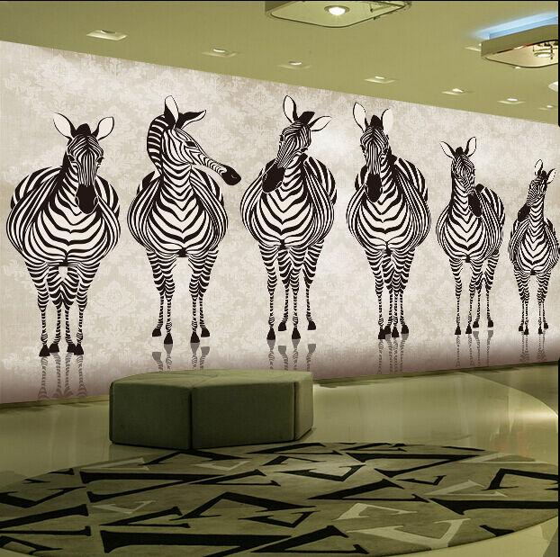 3D Zèbre Groupe 13 Photo Papier Peint en Autocollant Murale Plafond Chambre Art