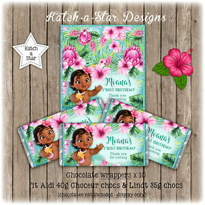Image Is Loading BABY MOANA 1ST FIRST BIRTHDAY PARTY PERSONALISED CHOCOLATE