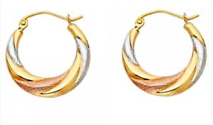 14k Solid Yellow White Rose Gold Fancy Design French Lock Swirl Hoop Earrings