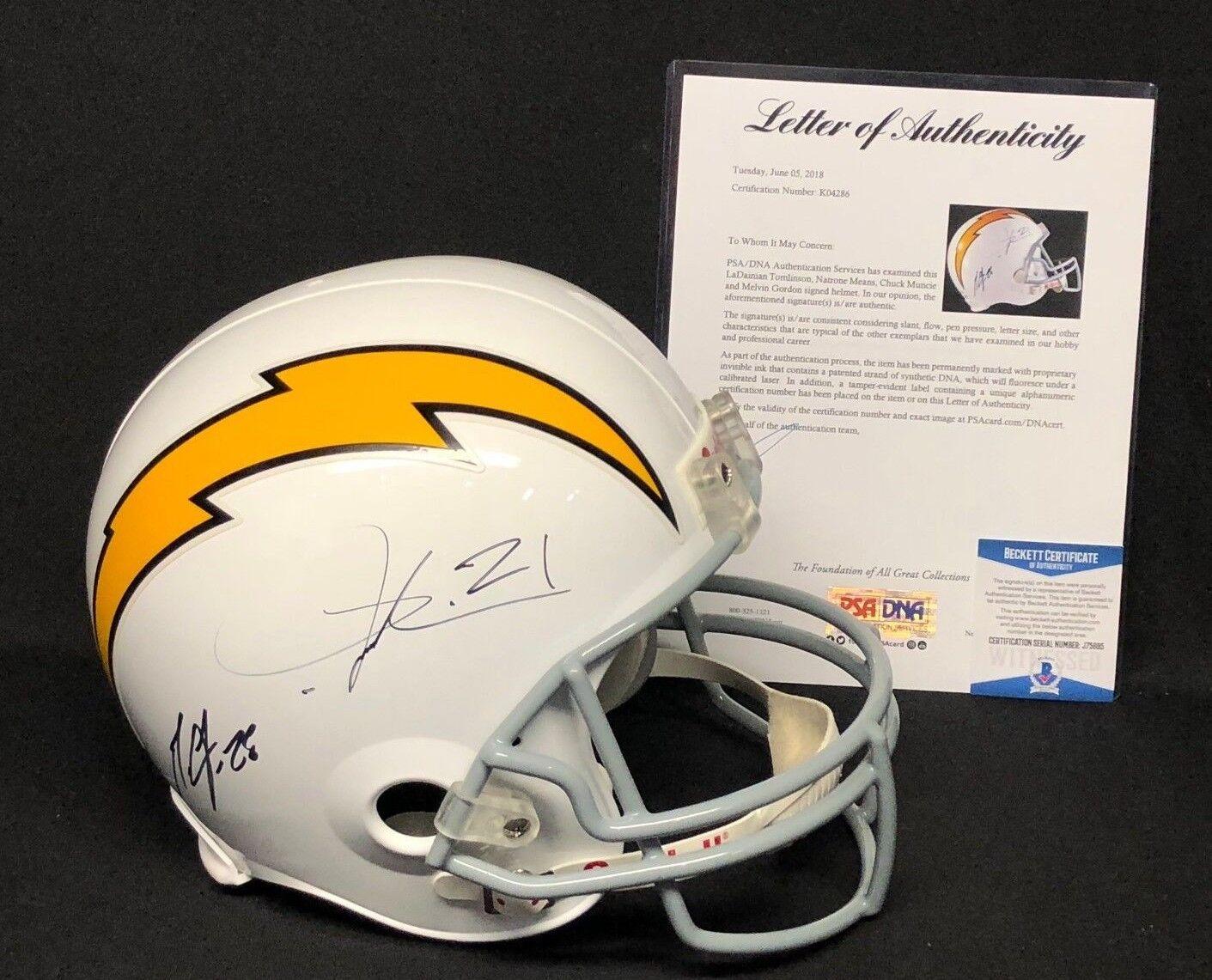 LaDainian Tomlinson Means Chuck Muncie Melvin Gordon Signed Chargers Helmet PSA