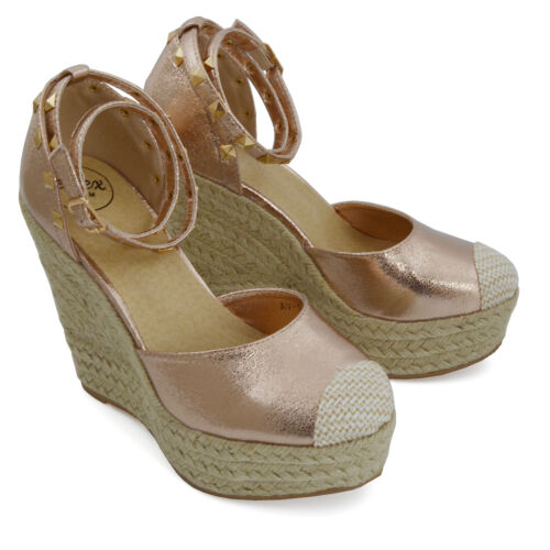 Mujer Tacón Cuña Alta Sandalias de plataforma Tira en Tobillo Alpargatas Zapatos