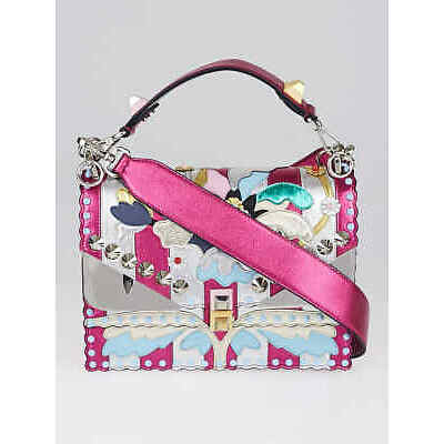 Fendi Pink Metallic Multicolor Leather Kan I Wonder Shoulder Bag 8BT283