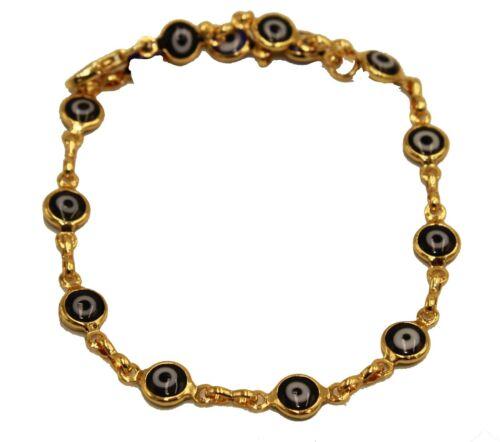 Evil Eye Anklet Foot Chain 18K Gold Plated Black Anklet  9.5 inch Tobillera