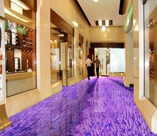 3D Purple Dream Flowers Floor WallPaper Murals Wall Print Decal 5D AJ WALLPAPER
