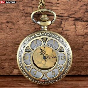 Vintage-Hollow-Pocket-Watch-Necklace-Pendant-Chain-Quartz-Retro-Gift-Antique-New