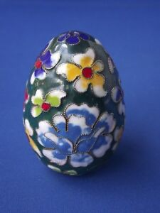 Metal Cloisonne Wire Work Enamelled Decorative Egg Green Multi Coloured Flowers