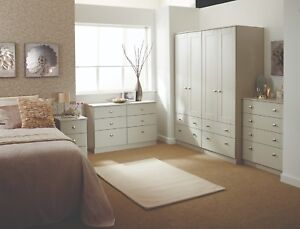 Details about Albany Cream Wardrobe Chest Of Drawers Set Ready Assembled  Bedroom Furniture UK