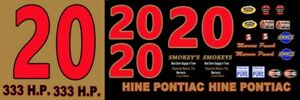 #20 Marvin Panch 1961 Pontiac Smokey Yunick 1/24th - 1/25th Scale Decals