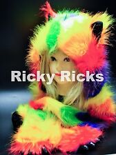 Rave Animal Hood Husky YELLOW Rainbow Hoodie Hat Ear Warm Scarf Monster