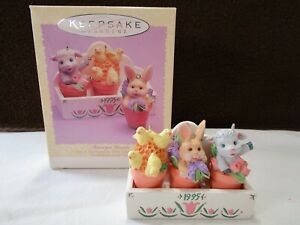 Hallmark-1995-Flowerpot-Friends-Easter-Collection-Decoration-Ornaments-NIB