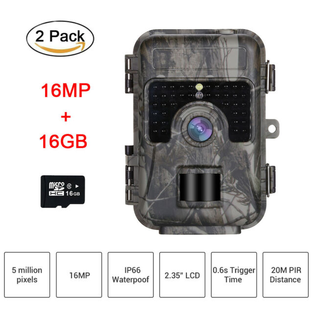 2 Pack 16MP 16GB Trail Scouting Game Wildlife Camera 3MP CMOS sensor Waterproof
