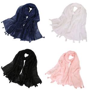 Women-Cotton-Long-Scarf-Muslim-Sequin-Shawl-Tassel-Headwear-Arab-Hijab-Scarves