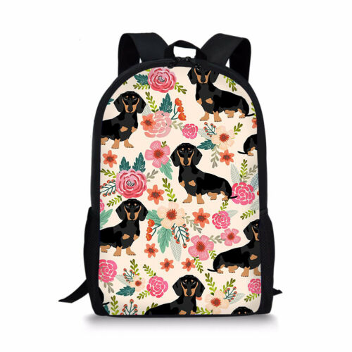 Dachshund Dog Laptop Rucksack Women Backpack Kid School Bookbag Lunch Pencil Bag