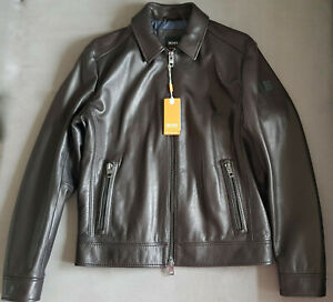 Herren-Lederjacke-Bikerjacke-Casual-HUGO-BOSS-Juba-Dark-Brown-gr-48
