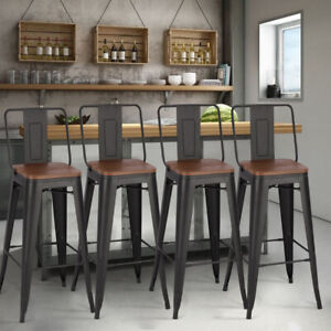 Details about 2/4 Seater Dining Table Tall Breakfast Bar Cafe Kitchen Metal  Chairs Stools Seat