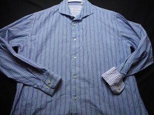 Isaac-Mizrahi-Purple-Blue-White-Cotton-Large-Stripe-Contrast-Cuff-Men-039-s-Shirt