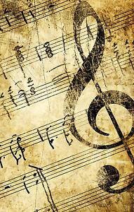 Impression-Encadree-Vintage-Cle-de-Sol-Musique-Papier-Image-Affiche-Art