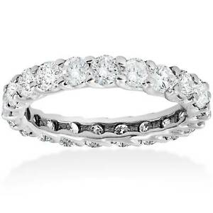 3-ct-Round-Diamond-Eternity-Wedding-Ring-14K-White-Gold-Womens-Stackable-Band