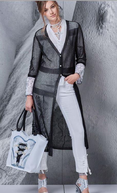 Elisa Cavaletti langer schwarzer Mantel Tunika ELP184006401 Überwurf