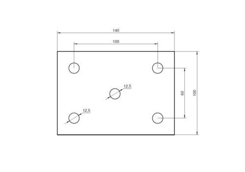 Fußplatte Eisenplatte Ankerplatte Bodenplatte Anschweißplatte Stahl 140x100x6mm