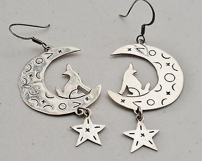"""Southwest TC-189 Taxco Mexico 3"""" Sterling Silver Wolf Howling on Moon Earrings"""
