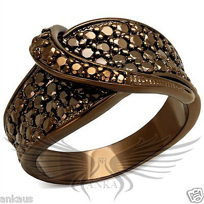 Brilliant Micro Paved Cubic Zircon CZ AAA Coffee Ion Plated Fashion Ring 3W1099