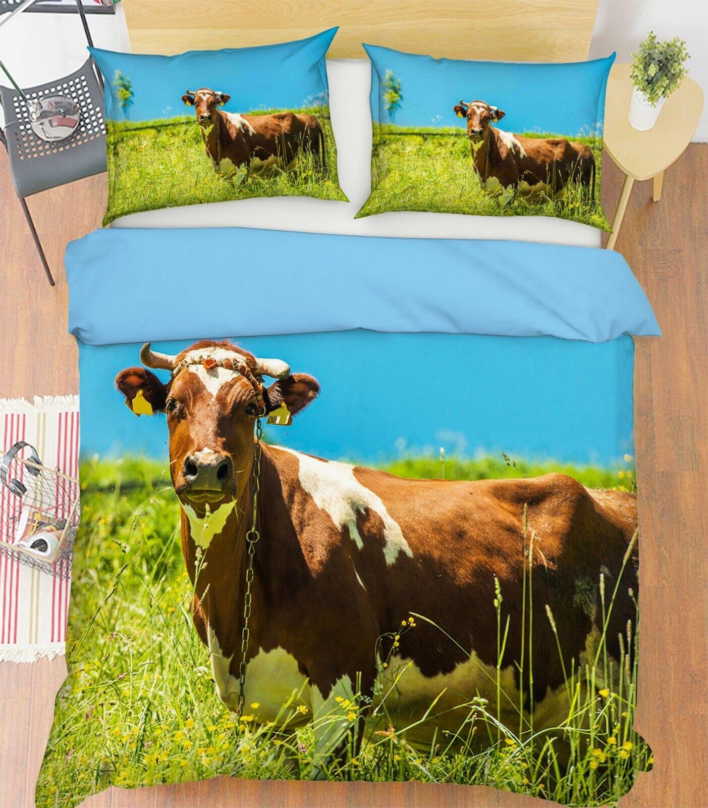 3D Vache paissent S001 animal lit taies d'oreiller couette parure de lit reine roi dihommeche