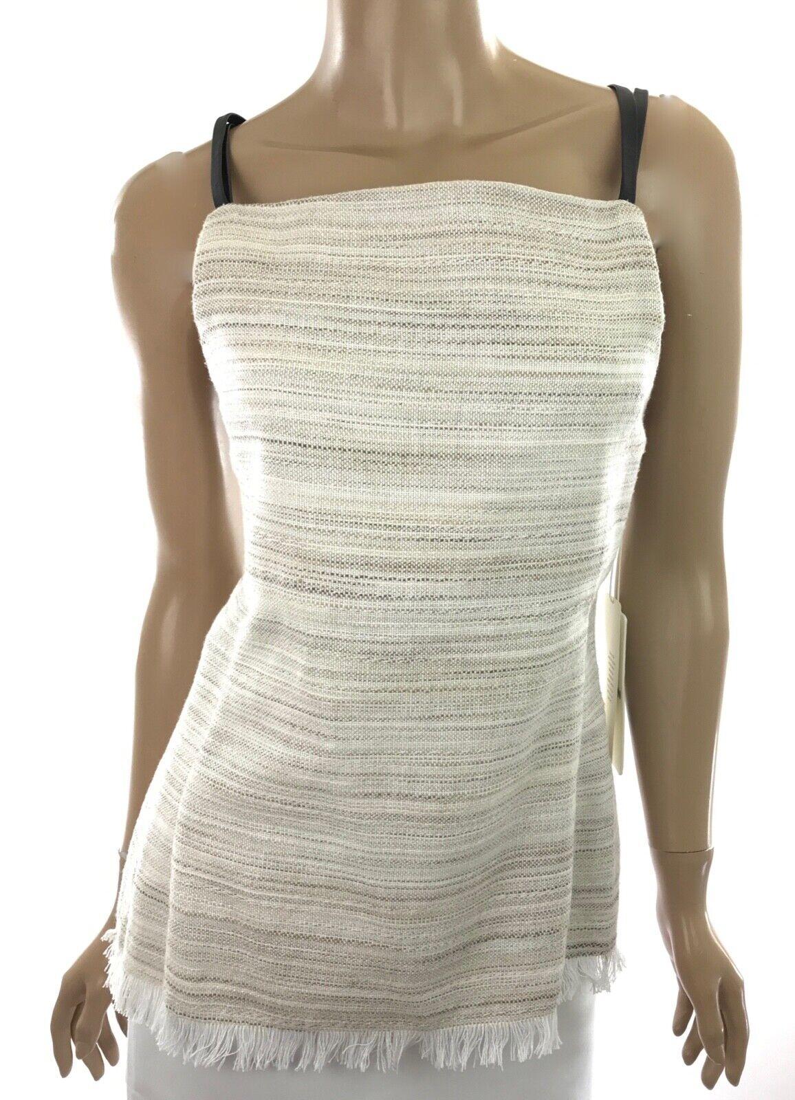 Edun New Top Blouse Cotton Weave Strap Tank Fringe Hem Spaghetti Strap MSRP