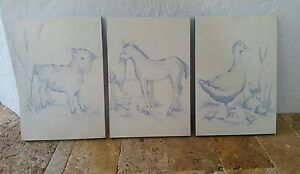 Pottery Barn Kids 3 pc Set Canvas 16X11 Wall Art DUCK PONY LAMB Boy Girl NURSERY