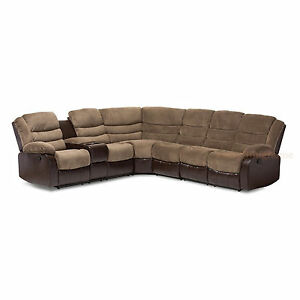Brown-Terry-Cloth-Faux-Leather-Theater-Sectional-Sofa-2-Recliners-Storage-Wedge