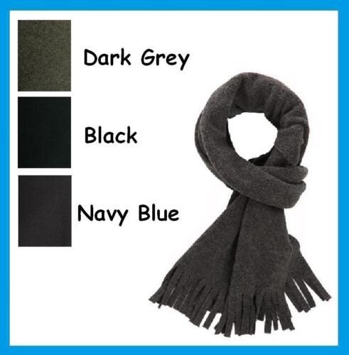 Plain Tassel Edge Fleece Scarf Winter Scarves Black Grey Navy Blue  *FREE P/&P*