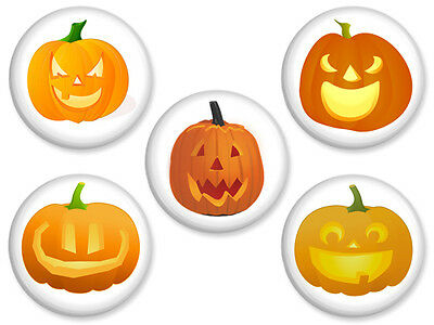 5 HALLOWEEN PINS Set #2 Pumpkin Carved Jack-O-Lantern Pinback Button Badge Lot