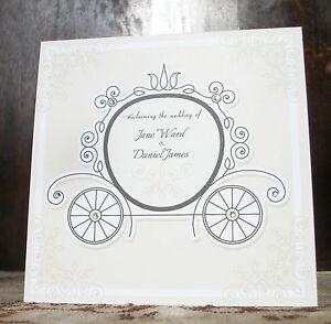 Image Is Loading Vintage Fairytale Traditional Size Wedding Invitations  Cinderella Carriage