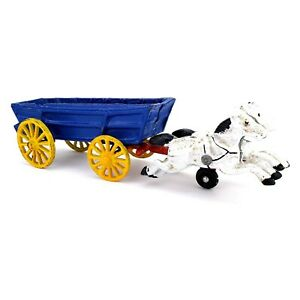Vintage-Cast-Iron-Horse-Drawn-Carriage-Cart-Toy