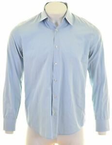HUGO-BOSS-Mens-Shirt-Size-16-Large-Blue-Cotton-Regular-Fit-HH05