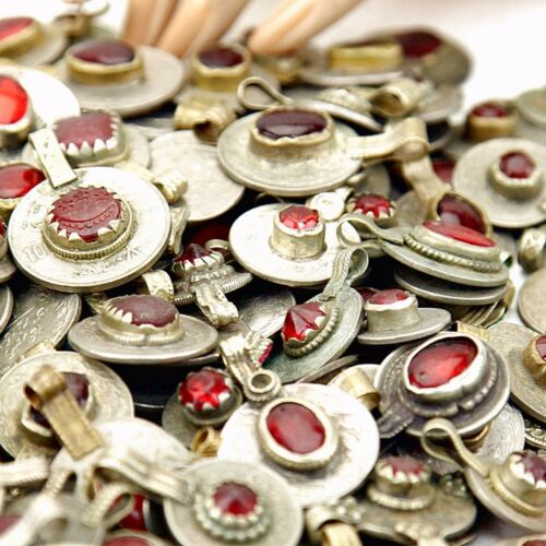 DEEP RED Color 100 real Jeweled COINS Tribal Belly Dance Kuchi Tribe