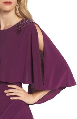 Adrianna Papell Magenta Purple Embellished Capelet Sheath Dress Size 4-12 NWT