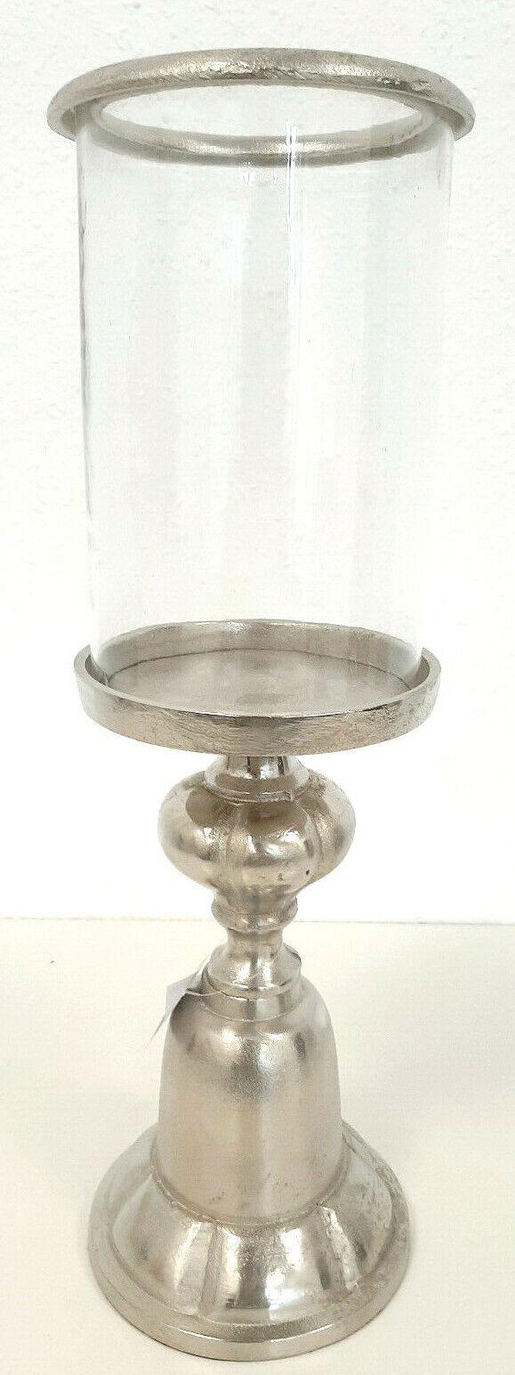 Gilde Aluminium Windlicht  Cansino  NEU Glas & Sockel  Reliefdesign 45,7cm Hoch